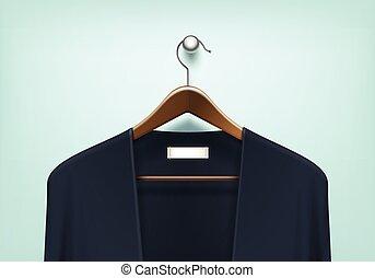 vector, percha, de madera, cárdigan, puente, ropa