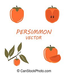 Vector Persimmon icons set