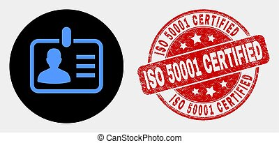 Vector Person Badge Icon and Distress ISO 50001 Certified Seal