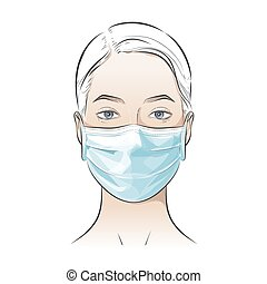 Vector person wearing disposable medical surgical face mask to protect against high air toxic pollution city