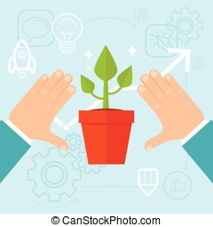 Vector personal development concept in flat style - green plant and human hands