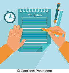 Vector personal goals list in flat style - man writing on...