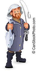 vector, pescador, caricatura