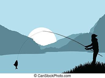 vector, pescador, paisaje, plano de fondo