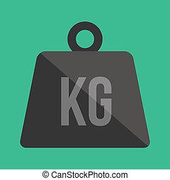vector, peso, kilogramo, icono