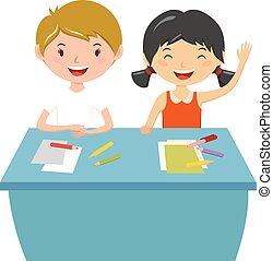 vector., pessoas, crianças, aprendizagem, escola elementar, conceito, educação