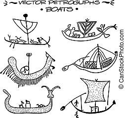 Vector petroglyphs. Boats
