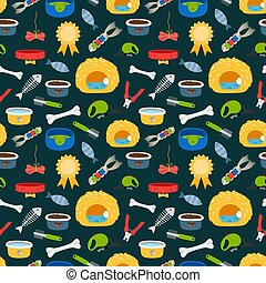 Vector pets accessories colorful seamless pattern. Dogs and cats food, beds, toys texture
