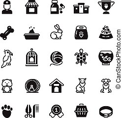 Vector pets black icons