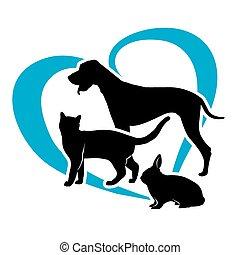 vector pets on a blue heart