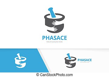 Vector pharmacy and hands logo combination. Pounder and hug symbol or icon. Unique mortar and pestle logotype design template.