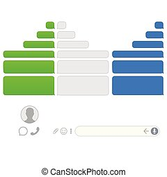 Vector phone chat bubbles. Sms messages.