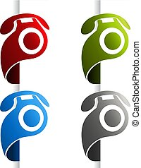 Vector phone icon at the edge of the web page. Symbol Contact us. Button of call center, services.