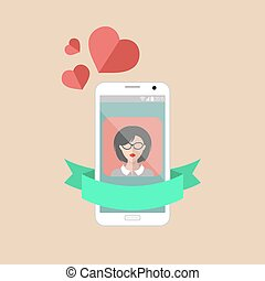 Vector phone icon with hearts in trendy flat style.