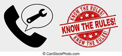 Vector Phone Service Message Icon and Grunge Know the Rules! Stamp