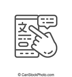 Vector phone with online translation line icon.