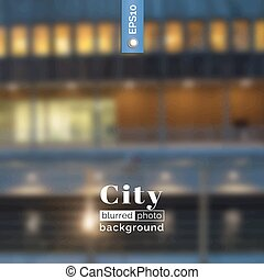 Vector photo background. Blurred photo background. Backdrop with city for poster. Travel poster with urban landscape. City design for website. Blur. Unfocus. Wallpaper for presentation, advertising