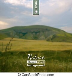 Vector photo background. Blurred photo background. Backdrop with nature for poster. Travel poster with natural landscape. Eco design for website. Blur. Unfocus. Wallpaper for presentation, advertising