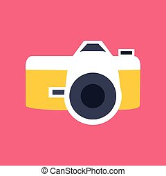 Vector photo camera icon in flat style