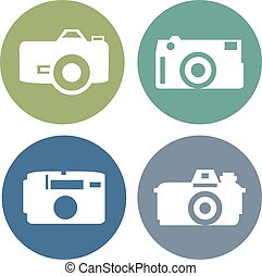 Vector photo camera icons set in flat style