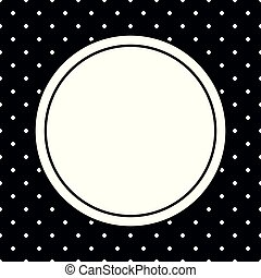Vector photo frame and white polka dots on black background