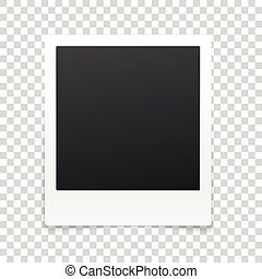 Vector photo frame isolated on transparent background. ...