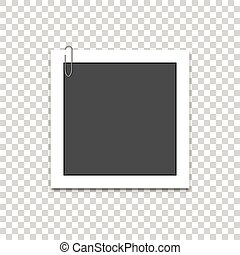 Vector photo frame with paper clip and shadow. Isolated on white background.