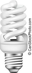 Vector photo-realistic energy saving bulb on white...