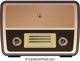 vector photo realistic vintage radio on white background