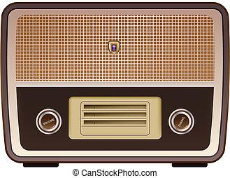 vector photo realistic vintage radio on white background