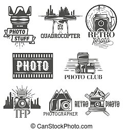 Vector photography theme set in vintage style. Monochrome logo, banner, badges or emblems for photo studio. Isolated illustration