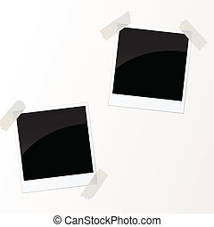 vector photos with tape - vector illustration of photos with...