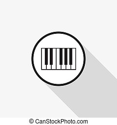 Vector piano icon with a long shadow on the background