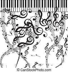 Vector Piano Keys with Musical Symbols. Includes EPS 10 file...