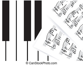 Piano keys with note - Vector Piano keys with note