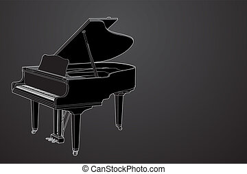 vector Piano - Vector piano on black background...