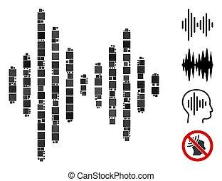 vector, pictogram, audio, mozaïek, signaal, plein