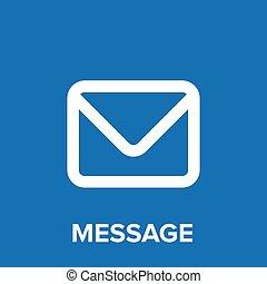 vector, pictogram, email, blauwe , boodschap, of