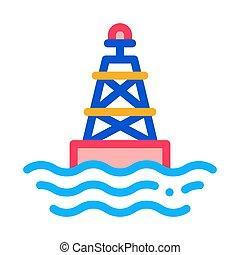 vector, pictogram, illustratie, zeebaken, schets, licht, zee