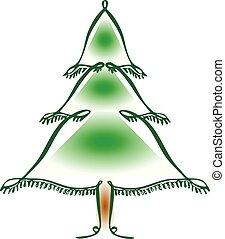 vector, pictogram, lijn, boompje, kerstmis, kunst