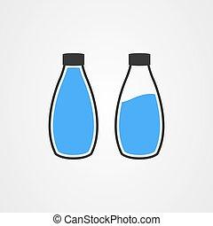 vector, pictogram, logo, fles, ontwerp