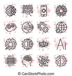 vector, pictogram, set, voor, kunstmatige intelligentie, (ai), concept., gevarieerd, symbolen, voor, de, topic, gebruik, plat, design., editable, slag