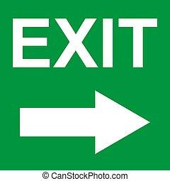 vector, pictogram, stijgen voorteken uit, symbool., helpen, arrow., ontsnapping, veiligheid, evacuatie, deur