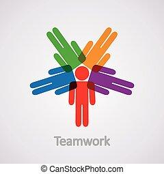 vector, pictogram, van, teamwork, concept