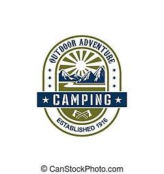 vector, pictogram, voor, kamperen, buitene avontuur