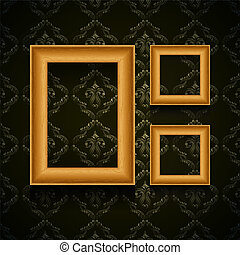 Vector picture frames on wall. - Vector picture wooden...