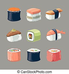 Vector picture set of Sushi rolls food