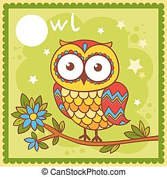 Illustrated alphabet letter O and owl.