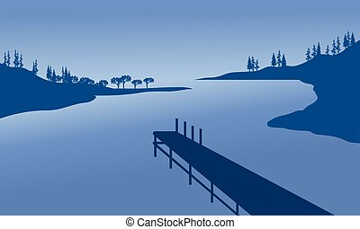 Vector pier of silhouette