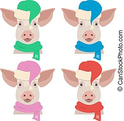 Vector pig head in winter colored new year clothing